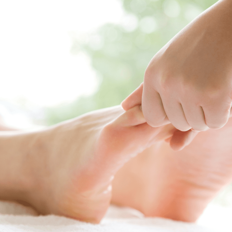 Oil massage remedy for bunions.